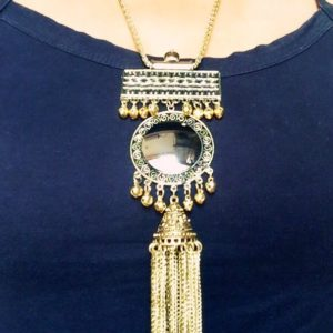 Hot-Afghani-Oxidised-Silver-Neckpiece-With-Mirror-And-Tassels