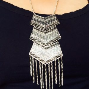 Light-And-Trendy-Three-Layered-Oxidised-Silver-Necklace