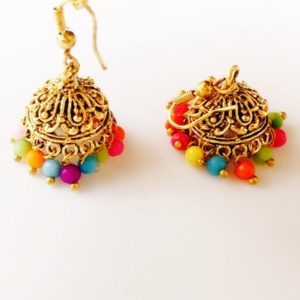 Oxidised-Silver-Antique-Gold-Jhumkis-Multicoloured-Beads-01