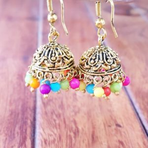 Oxidised-Silver-Antique-Gold-Jhumkis-Multicoloured-Beads-02