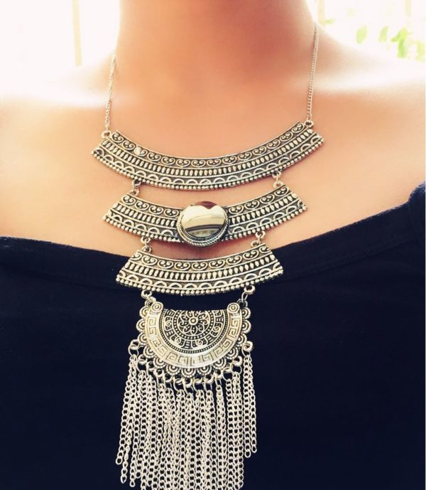 Three-Layered-Hot-Afghani-Statement-Necklace-With-Mirror-Tassels