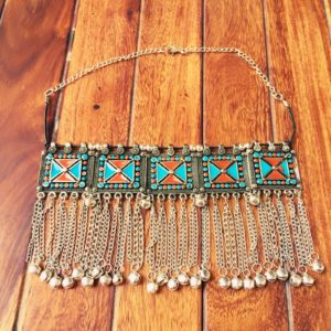 Turkish-Metal-Tassels-Oxidized-Silver-Statement-Choker-Necklaces-(Geometric Pattern)-02