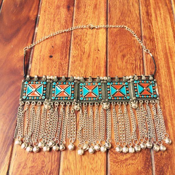 Turkish-Metal-Tassels-Oxidized-Silver-Statement-Choker-Necklaces-(Geometric Pattern)-02