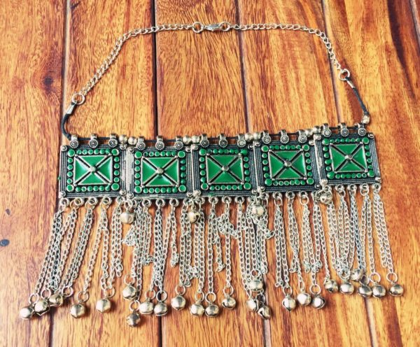 Turkish-Metal-Tassels-Oxidized-Silver-Statement-Choker-Necklaces-(Geometric Pattern)-05