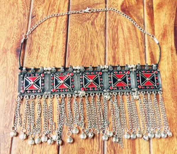 Turkish-Metal-Tassels-Oxidized-Silver-Statement-Choker-Necklaces-(Geometric Pattern)-06