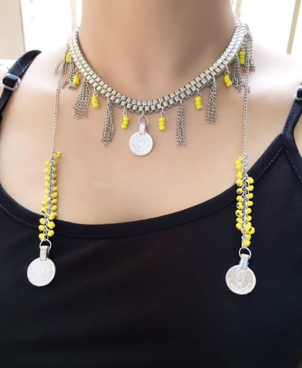 Handcrafted-Bohemian-Statement-Necklace-Yellow