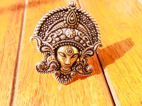 Goddess Durga Ring In Dual Tone