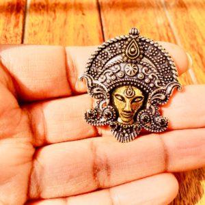 Goddess Durga Ring In Dual Tone