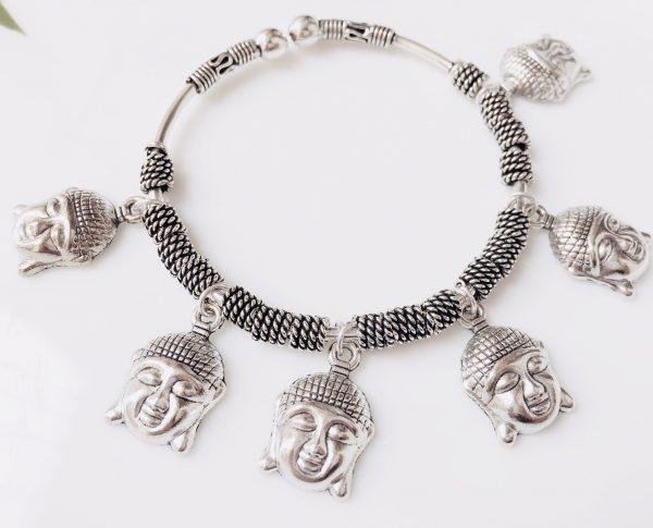Adjustable German Silver Bracelets With Charms Buddha