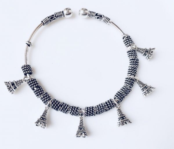 Adjustable German Silver Bracelets With Charms Eiffel Tower