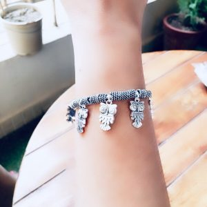 Adjustable German Silver Bracelets With Charms Owl