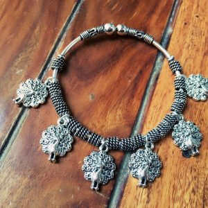 Adjustable German Silver Bracelets With Charms Peacock