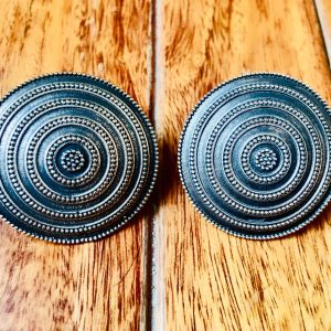 Big Round Brass Stud Earrings