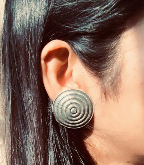Big Round Brass Stud Earrings