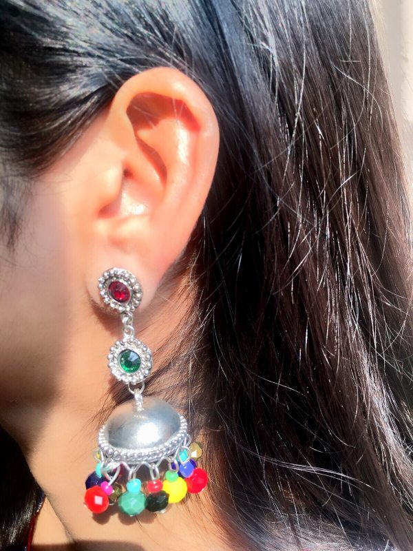 Silver Jhumkis With Multicoloured Beads