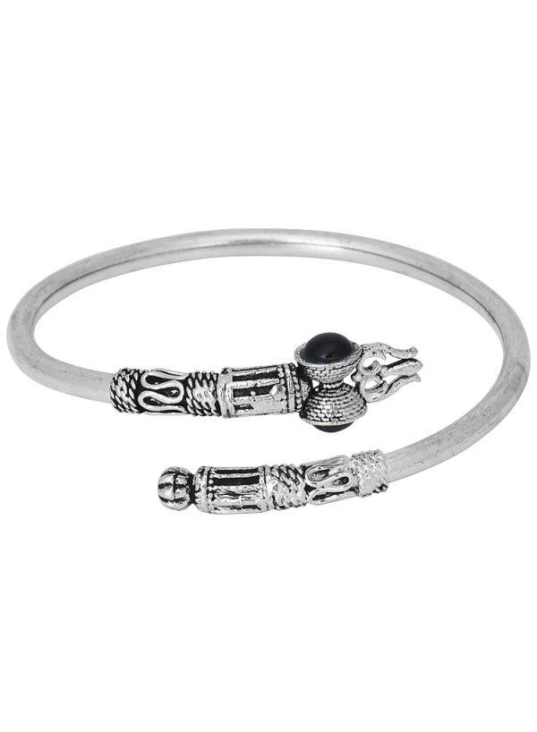 German Silver Unisex Bracelet Dumroo Trishul Black