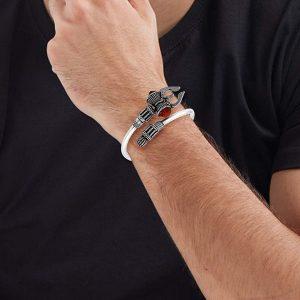 German Silver Unisex Bracelet Dumroo Trishul Rudraksh
