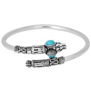 German Silver Unisex Bracelet Dumroo Trishul Turquoise
