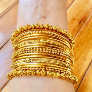 Metal Bangles Set Antique Gold
