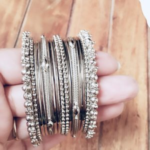 Metal Bangles Set Antique Silver