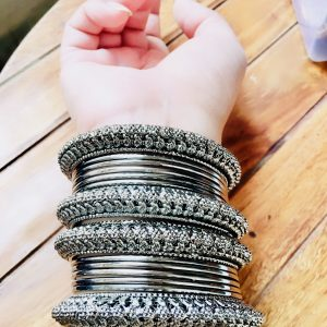 Metal Bangles Set Antique Black