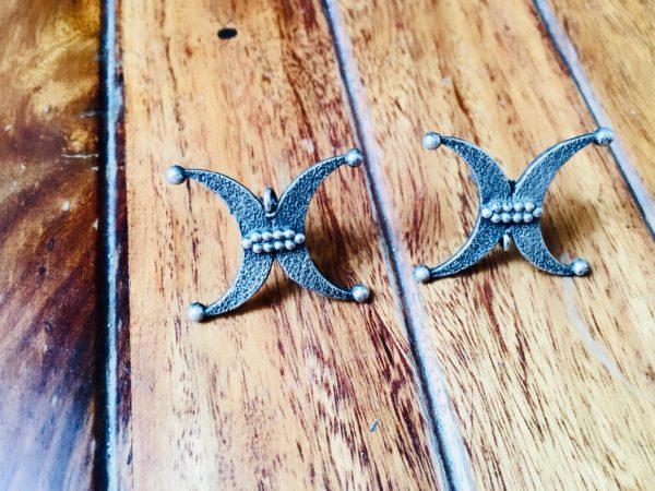 Trendy Tribal Brass Stud Earrings